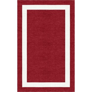 Clearance Volk Border Hand-Tufted Wool Wine Red/White Area Rug ByRed Barrel Studio