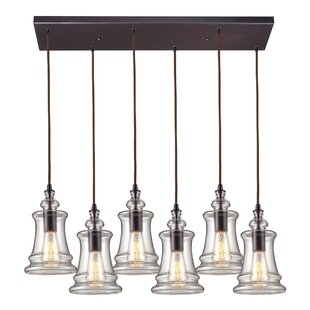 Brayden Studio Topete 6-Light Glass Shade Kitchen Island Pendant