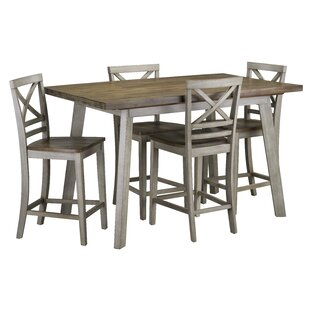 Tegan 5 Piece Counter Height Solid Wood Dining Set by Gracie Oaks