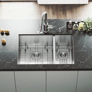 VIGO 29 inch Undermount 70/30 Double Bowl 16 Gauge Stainless Steel Kitchen Sink with Astor Stainless Steel Faucet, Two Grids, Two Strainers and Soap Dispenser