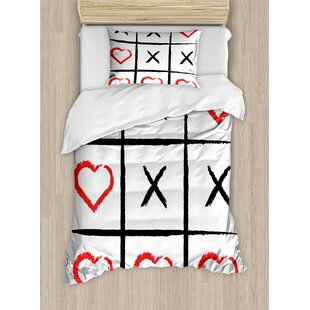 Xo Simple Love Game Happy Valentines Cute Romance Humor Hobby Symbols Design Duvet Set by East Urban Home