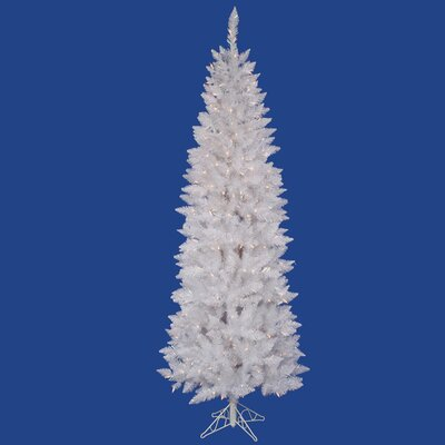 crystal white spruce pencil 9 artificial christmas tree with 500 clear lights with stand - 75 White Christmas Tree