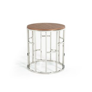 Cisco Wood and Stainless Steel End Table