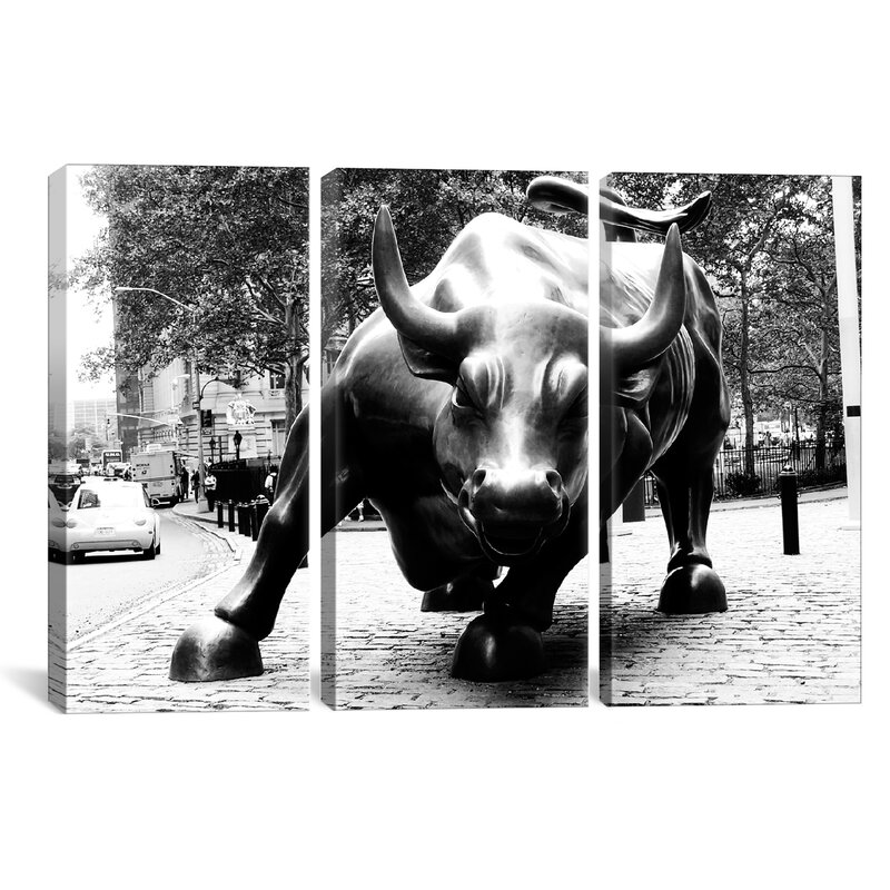 Wall Street Bull Art icanvas political wall street bull 3 piece photographic print on