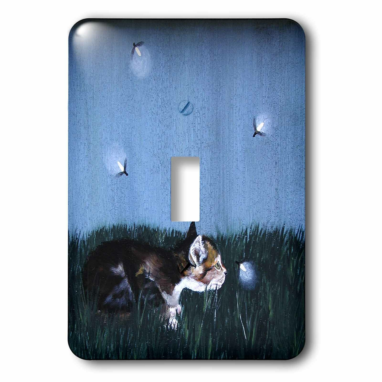 3drose Side View Of Kitten In The Grass 1 Gang Toggle Light Switch Wall Plate