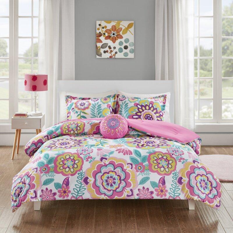 Hazlett Fl Reversible Comforter Set