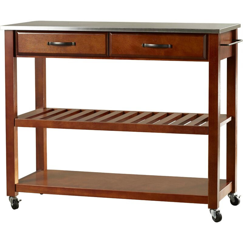 Three Posts  Hedon Kitchen Island with Stainless Steel Top Frame Finish: Cherry