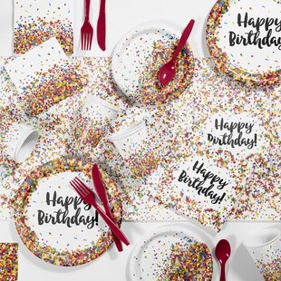 Confetti Sprinkles Birthday Party Paper/Plastic Supplies Kit (Set of 81)