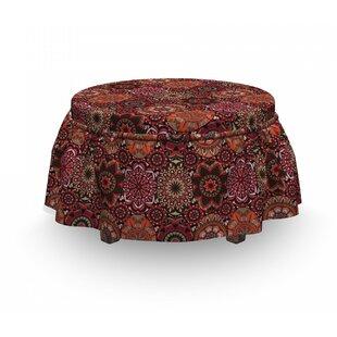 Moroccan Vintage Ottoman Tile 2 Piece Box Cushion Ottoman Slipcover Set By East Urban Home