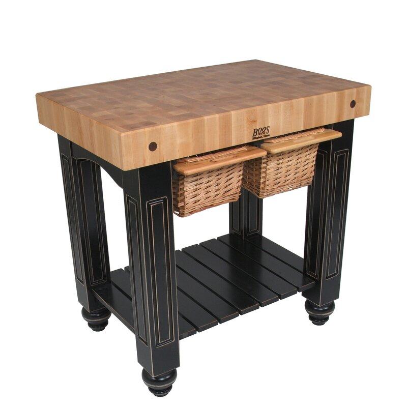 john boos american heritage prep table with butcher block