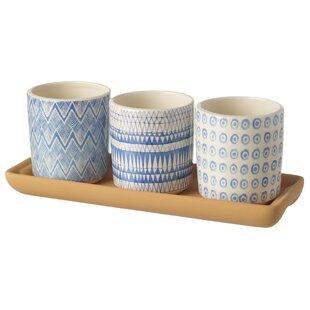 Errol 3 Piece Ceramic Cachepot Set By World Menagerie