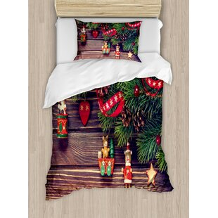 Christmas Rustic Wood Backdrop December Old Time Theme Jesus Ribbon Duvet Set by Ambesonne