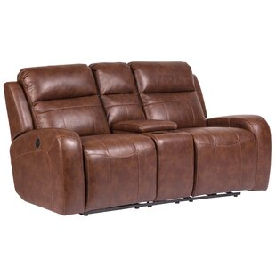Peres Leather Home Theater Loveseat by Loon Peak