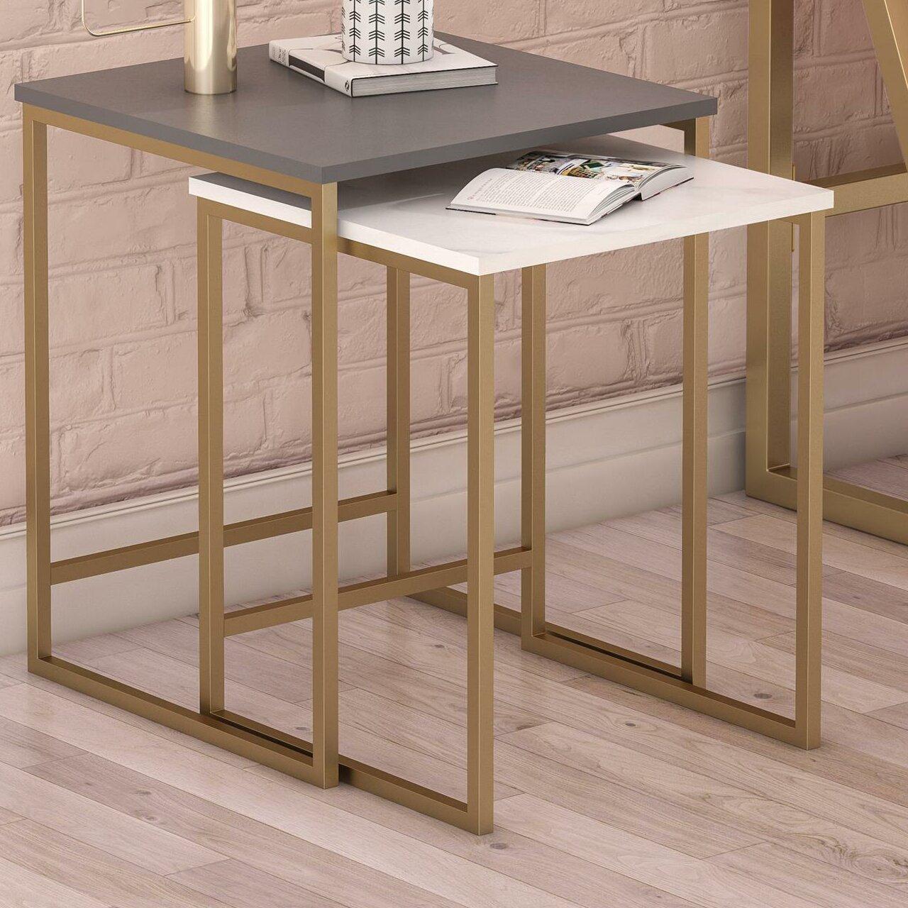 Cosmoliving By Cosmopolitan Scarlett 2 Piece Nesting Tables Reviews Wayfair