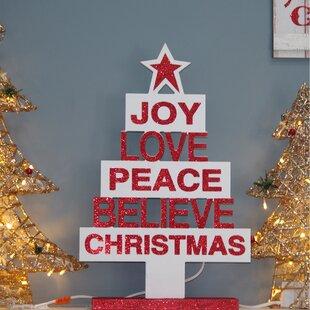joy love peace believe christmas tree table top wood sign