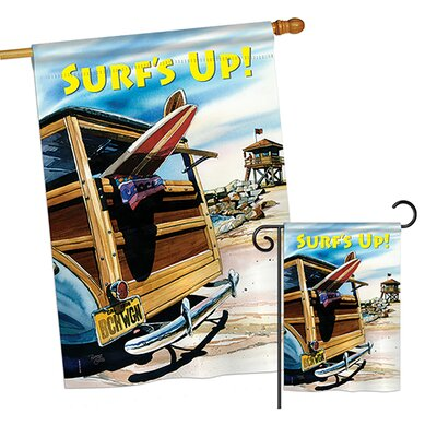 Breeze Decor 2 Piece Beach Wagon Summer Fun in the Sun Impressions Decorative Vertical 2-Sided Polyester Garden Flag Set