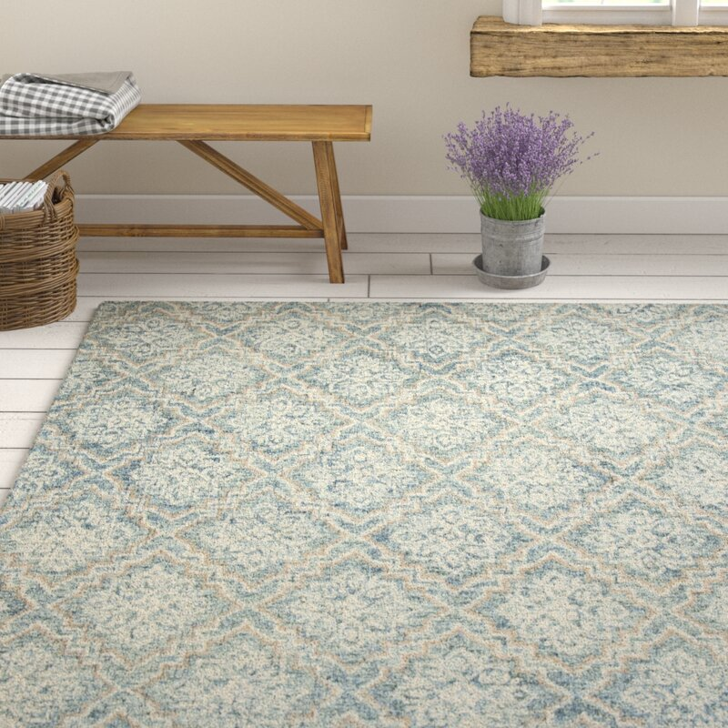 Ophelia Co Salerna Geometric Handmade Tufted Wool Blue Gray Area Rug Reviews Wayfair