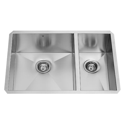 alma 29 inch undermount 75 25 double bowl 16 gauge stainless steel kitchen sink vigo alma 29 inch undermount 75 25 double bowl 16 gauge stainless      rh   wayfair com