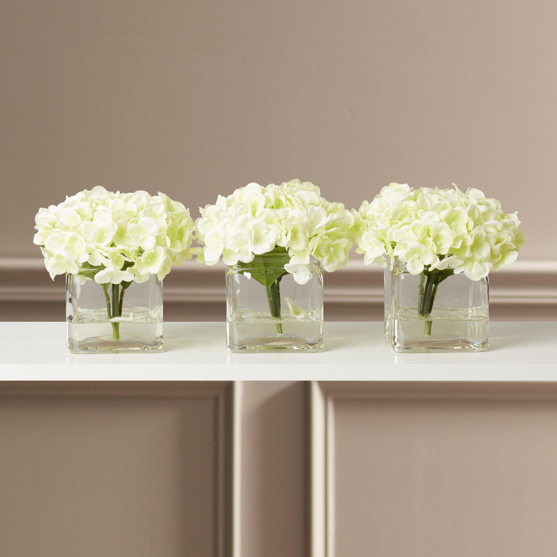 b00e8d88a70f Faux Potted Mini Hydrangea Floral Arrangement in Vase   Reviews ...
