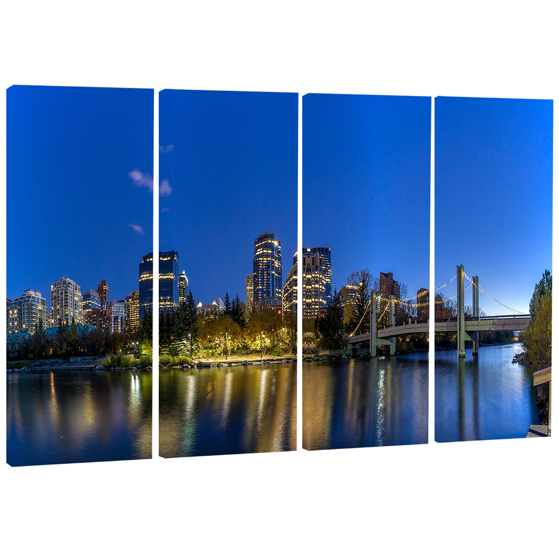 Designart Calgary Skyline Cityscape 4 Piece Photographic Print On Wrapped Canvas Set Wayfair