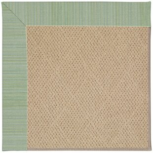 Lisle Cane Wicker Machine Tufted Green Spa/Brown Indoor/Outdoor Area Rug