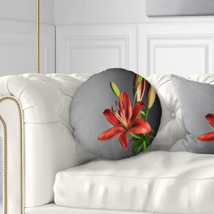 Flowerswork Cute Lily Flower Throw Pillow