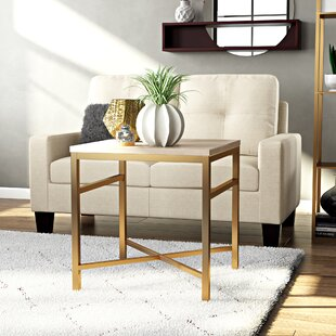 Stults Faux Stone End Table in Travertine by Zipcode Design