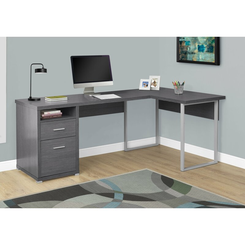 Latitude Run Darcio 2 Drawer L Shape Corner Desk Amp Reviews