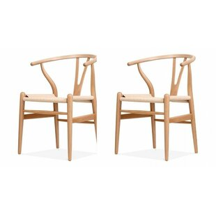Bungalow Rose Byers Mid-Century Solid Wood Dining Chair (Set of 2)