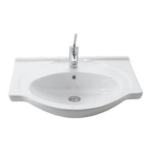 Comparison Etol Ceramic 26 Wall Mount Bathroom Sink with Overflow By WS Bath Collections