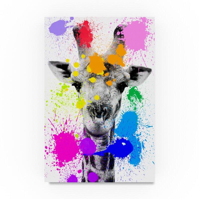 Trademark Art Giraffe Graphic Art Print On Wrapped Canvas Wayfair