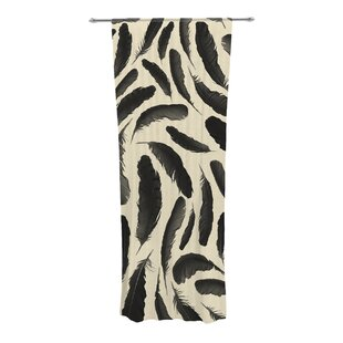 Feather Pattern Animal Print Sheer Rod Pocket Curtain Panels (Set of 2) by KESS InHouse