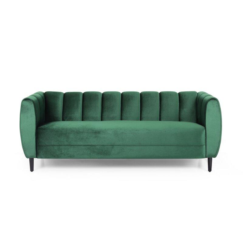"""Everly Quinn Kerman Modern Velvet 3 Seater 68.5"""" Flares Arms Sofa"""