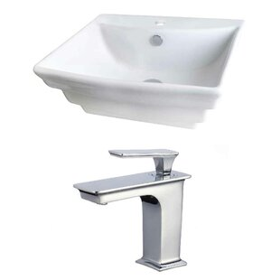 Royal Purple Bath Kitchen Above Counter Ceramic Rectangular Undermount Bathroom Sink with Faucet and Overflow