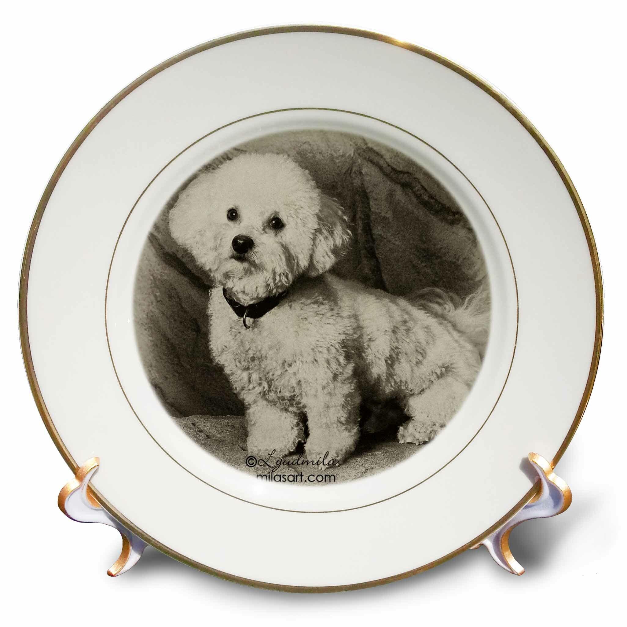 East Urban Home Bichon Frise Porcelain Decorative Plate Wayfair
