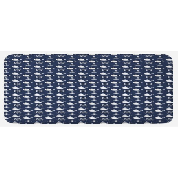 Maritime Pattern With Whales Helms Anchors Nautical Elements Deep Sea Life Navy Blue White Kitchen Mat