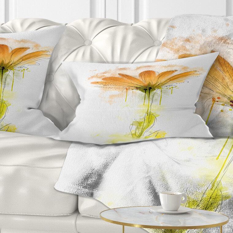 East Urban Home Flowerswork Gerbera Sketch Watercolor Lumbar Pillow Wayfair