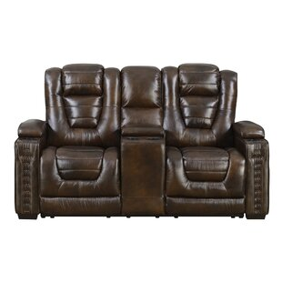 Red Barrel Studio Barnhart Dual Power Leather Reclining Loveseat