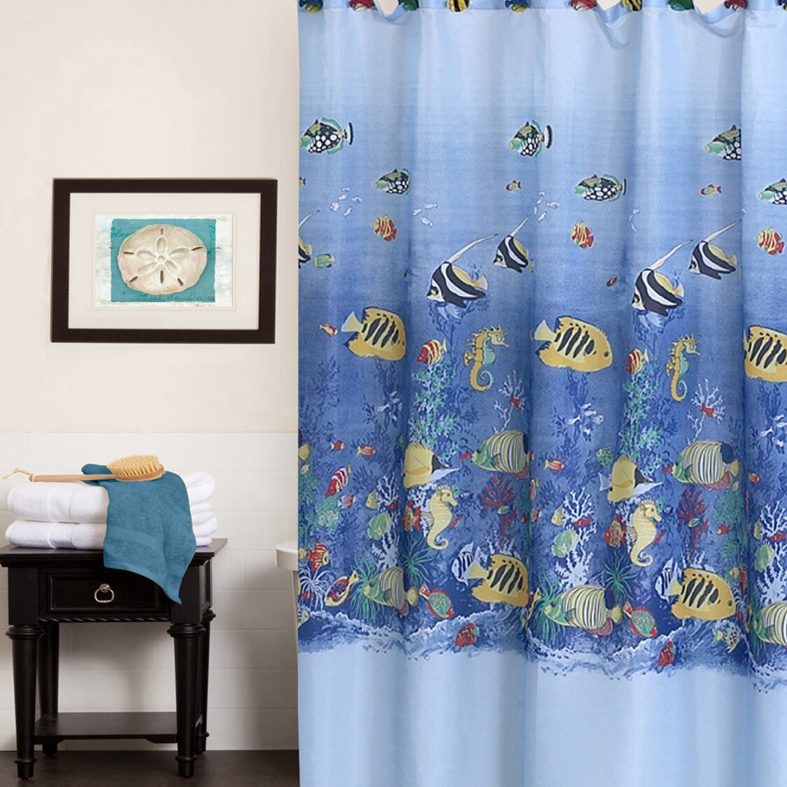 Sweet Home Collection Colorful Tropical Sea Printed Shower Curtain