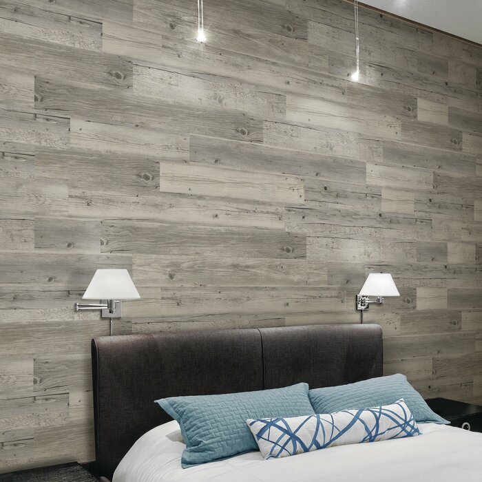 5 X 44 Peel And Stick Vinyl Wall Paneling In Harbor Wood Gray