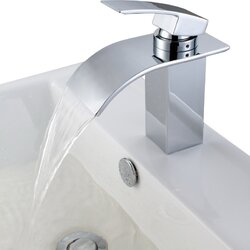 Bathroom Waterfall Faucet sumerain single handle deck mount waterfall bathroom sink faucet
