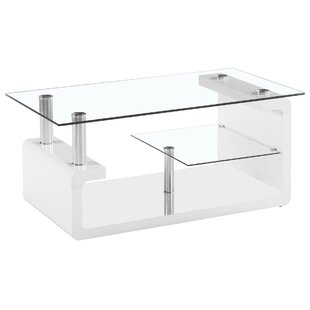 Fab Glass and Mirror Elegant Tempered Glass Coffee Table
