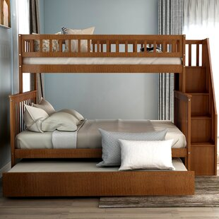 Ferrell Stairway Twin over Full Bunk Bed with Trundle and Shelves by Trule