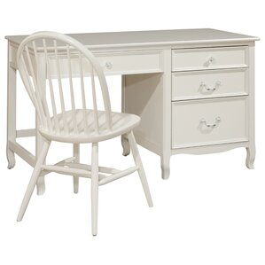 Lilia Large Wood Pedestal Desk with 4 Drawers by Viv + Rae