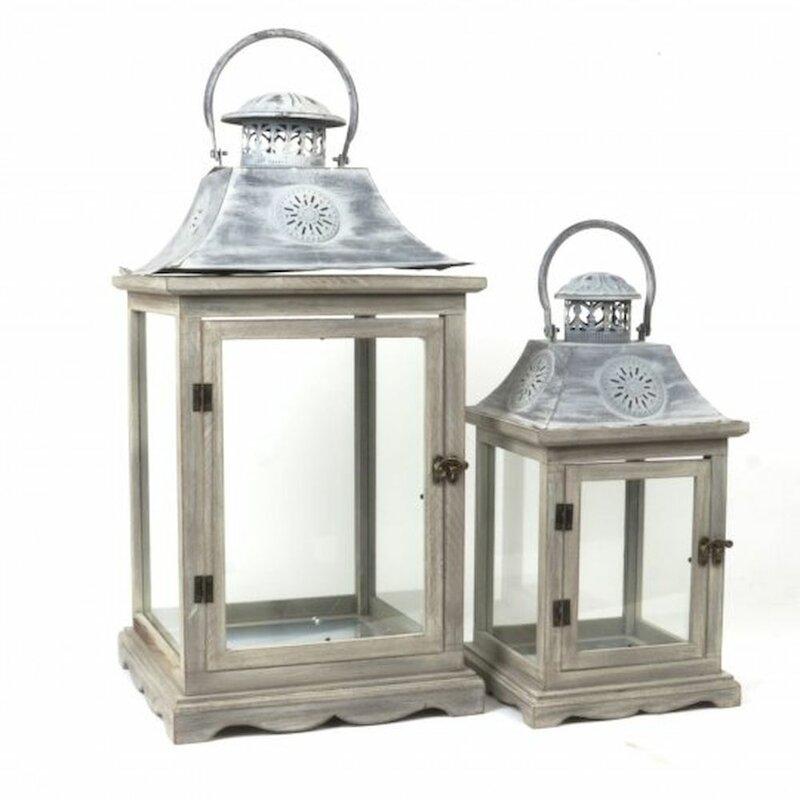 One Allium Way Traditional 2 Piece Wood Metal Lantern Set Wayfair