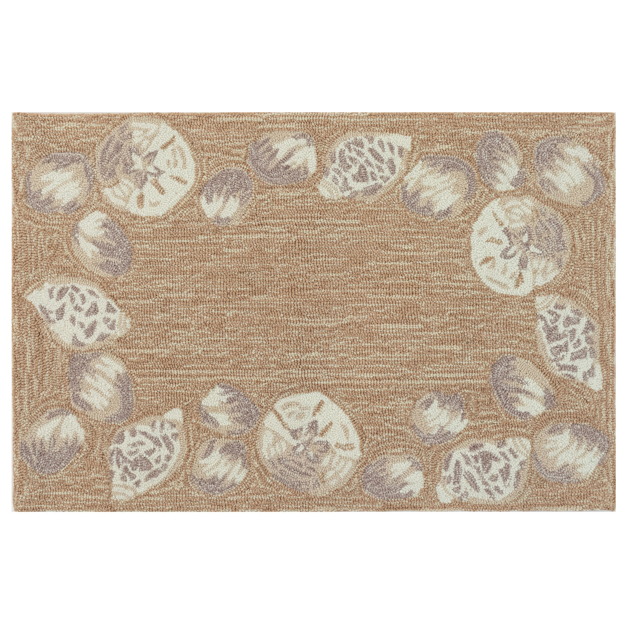 Glen Ellyn Seashell Border Indoor Outdoor Rug Natural