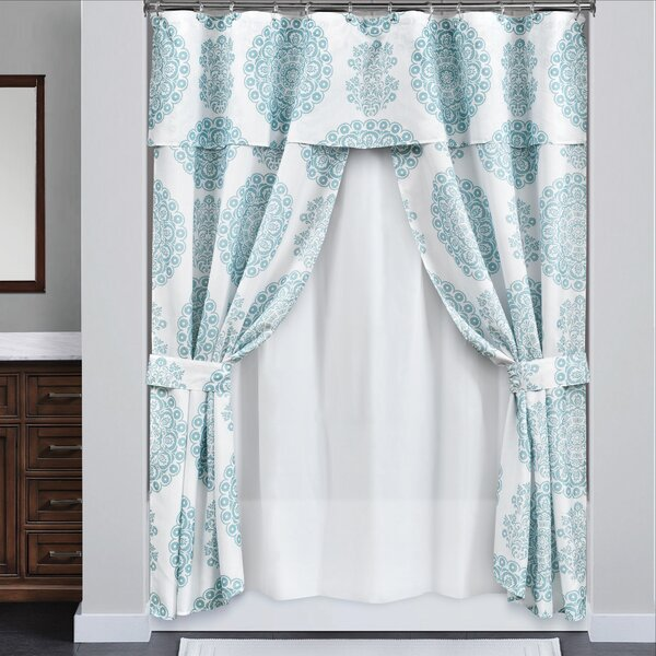 White DINY Home /& Style Ruffled Double Swag Shower Curtain Set with Coordinating Liner and Rings