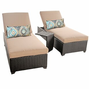 TK Classics Classic 3 Piece Chaise Lounge Set with Cushion