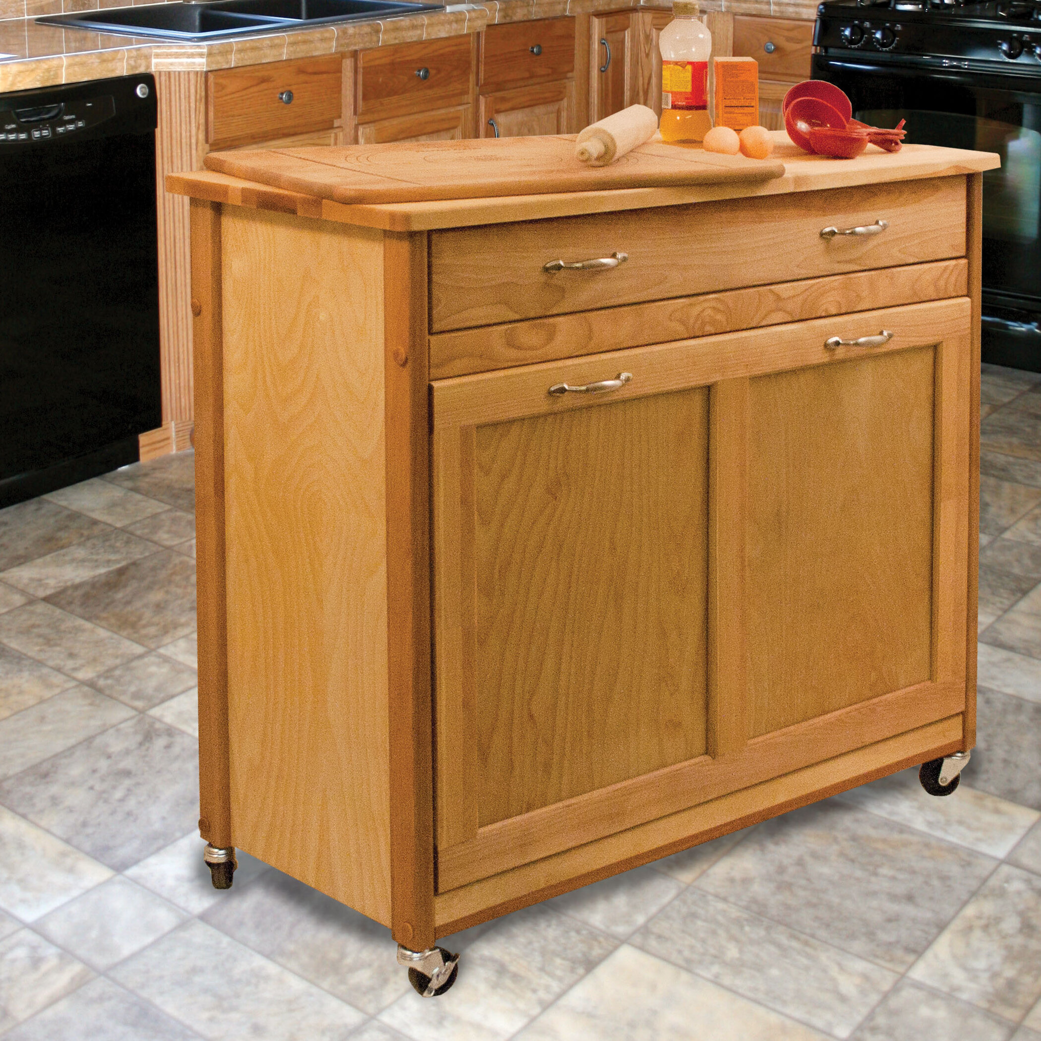 Millwood Pines Triche Pull Out Trash Kitchen Island With Butcher Block Reviews Wayfair