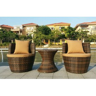 Ivy Bronx Crosswhite 3 Piece Wicker Bistro Set with Cushions